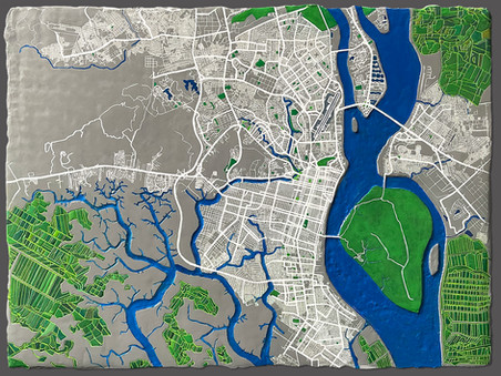 Guayaquil, Ecuador Map, 2021, Clay and acrylic on wooden panel, 18 x 24 inches, 1.5 inches cradle, Tan Sirinumas.jpg