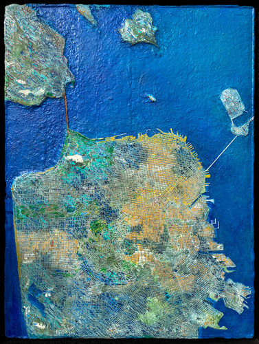 San Francisco Map - Clay and acrylic, 24