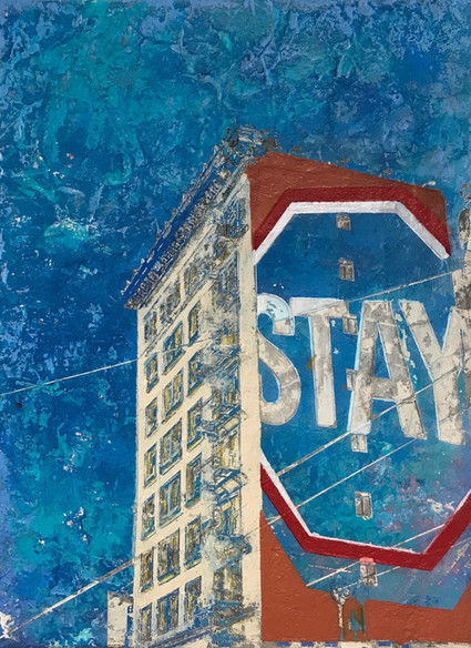 "Hotel Metropolis, San Francisco, 2016 - Clay and acrylic 16"" x 12"" inches"