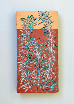 Rosemary, 12 x 6 inches - Hand carved on layers of acrylic paint on wooden panel, 2021 - T