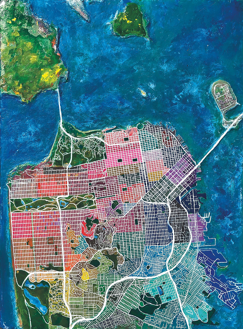 San Francisco Map color by neighborhoods