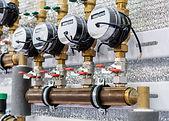 Several water meters. Measurement of wat