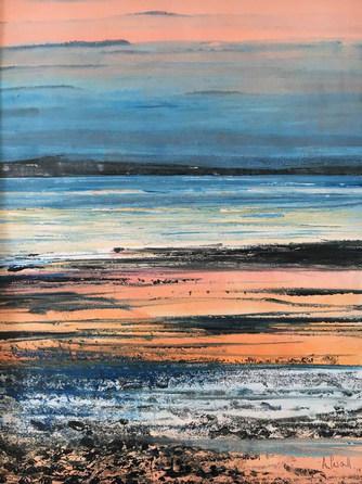 Setting sun across the tide