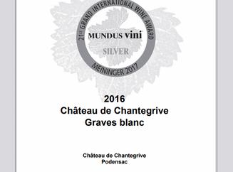 Chantegrive blanc 2016 médaillé d'argent au concours Mundus Vini