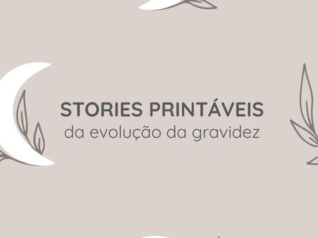 """Stories """"printáveis"""" da evolução da gravidez pra compartilhar nas redes sociais"""