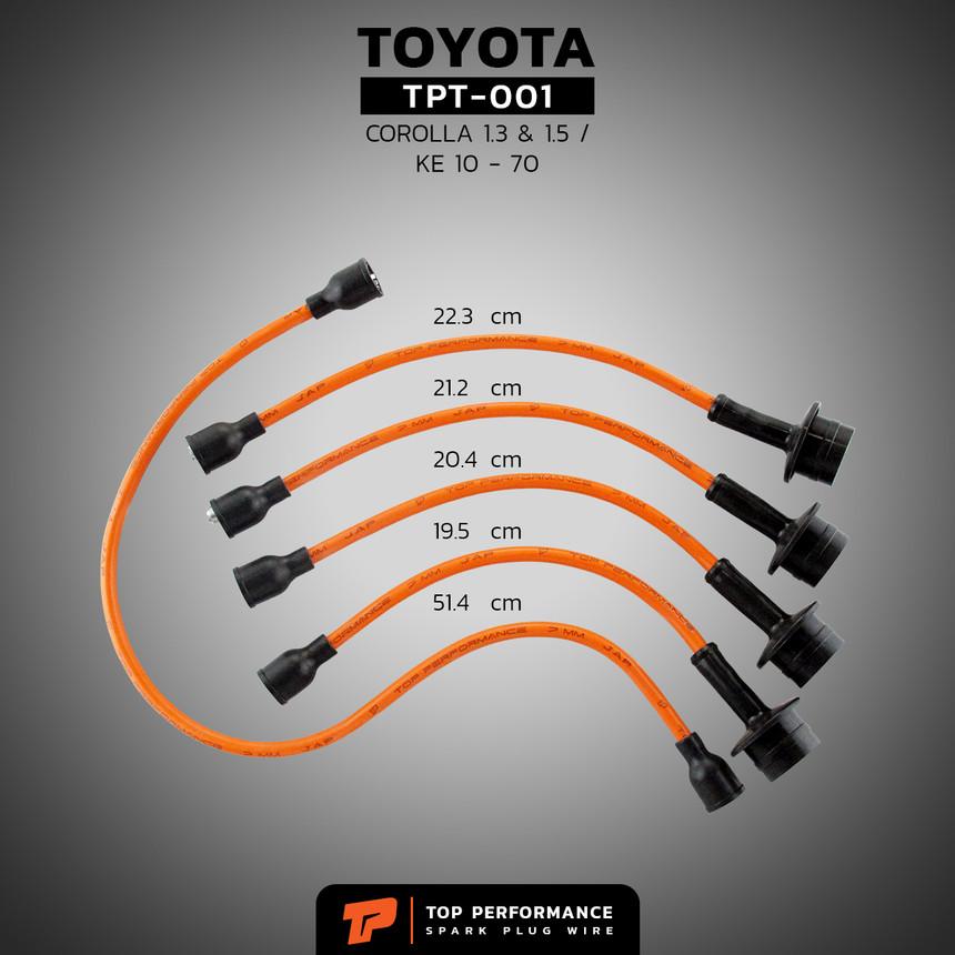 สายหัวเทียน TPT-001 - TOYOTA COROLLA 3K 4K / KE 10 - 70 - TOP PERFORMANCE MADE IN JAPAN - โตโยต้า โคโรลล่า