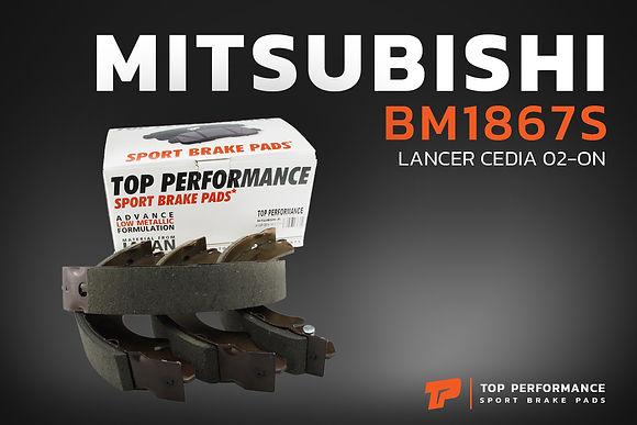 ก้ามเบรค หลัง BM 1867S - MITSUBISHI LANCER CEDIA 1.6 - TOP PERFORMANCE JAPAN - ดรัมเบรค แลนเซอร์ ซีเดีย / MR449086 / BS1867