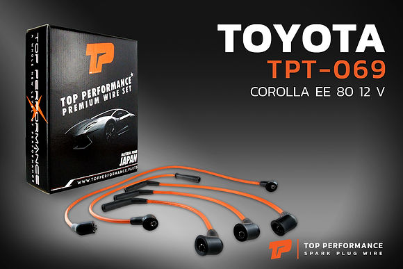 สายหัวเทียน TPT-069 - TOYOTA COROLLA EE80 12V / 2E - TOP PERFORMANCE MADE IN JAPAN - โตโยต้า โคโรล่า โคโรลล่า โดเรม่อน
