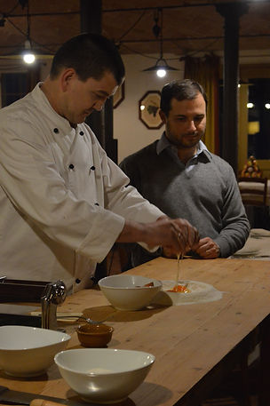 Chef making homemade pasta.
