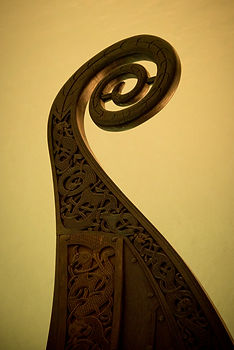 Photo of carved details on a Norwegian Viking ship