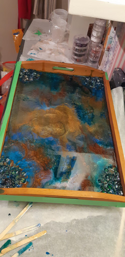 large serving tray with poured resin