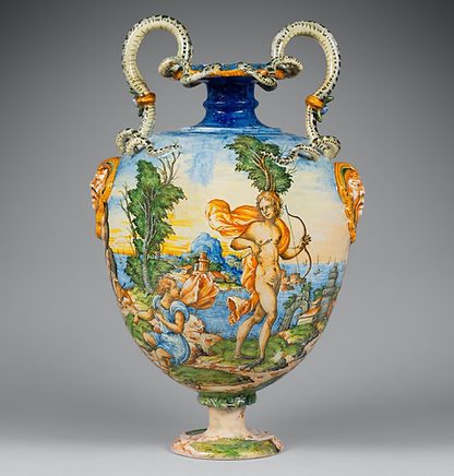 LARGE VASE PAINTED WITH THE METAMORPHOSIS OF CYPARISSUS Tin-glazed earthenware, copperta Circa 1570-1580 H.55 cm; width handles: 42,5cm Provenance Private collection, France Related models Two similar models held at the Victoria and Albert museum, London (inv.4697, 4698-1858). After An engraving by Bernard Salomon (1506-1561) taken from 'La Métamorphose d'Ovide figurée' published by Jean de Tournes, Lyon, 1557