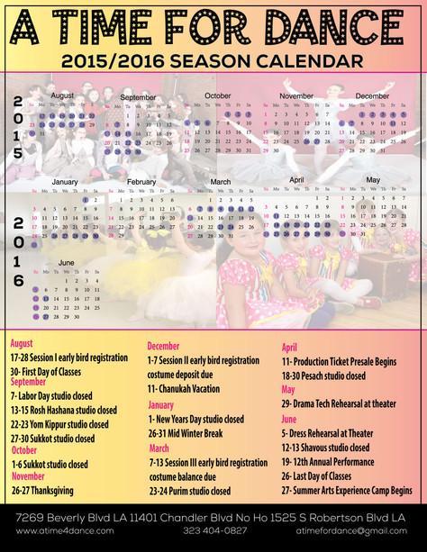 2015-2016 Season Calendar