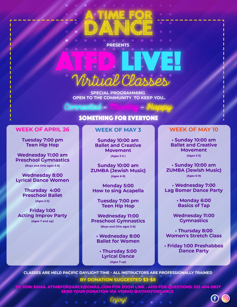 ATFD LIVE!  We launched our virtual classes!