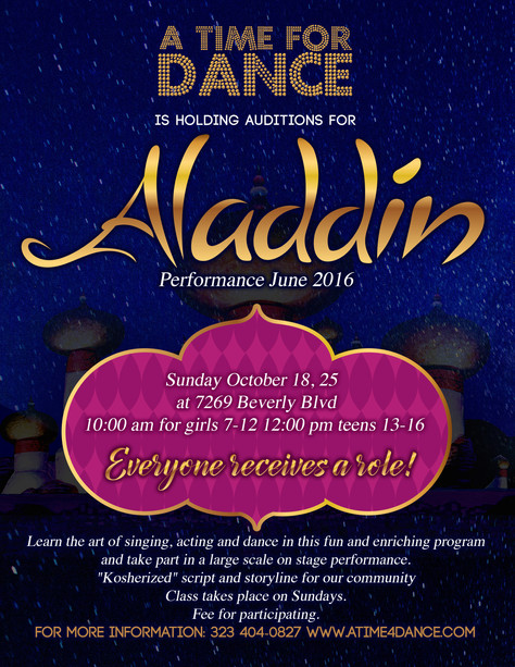 Aladdin Auditions!  October 25th (not the 18th)