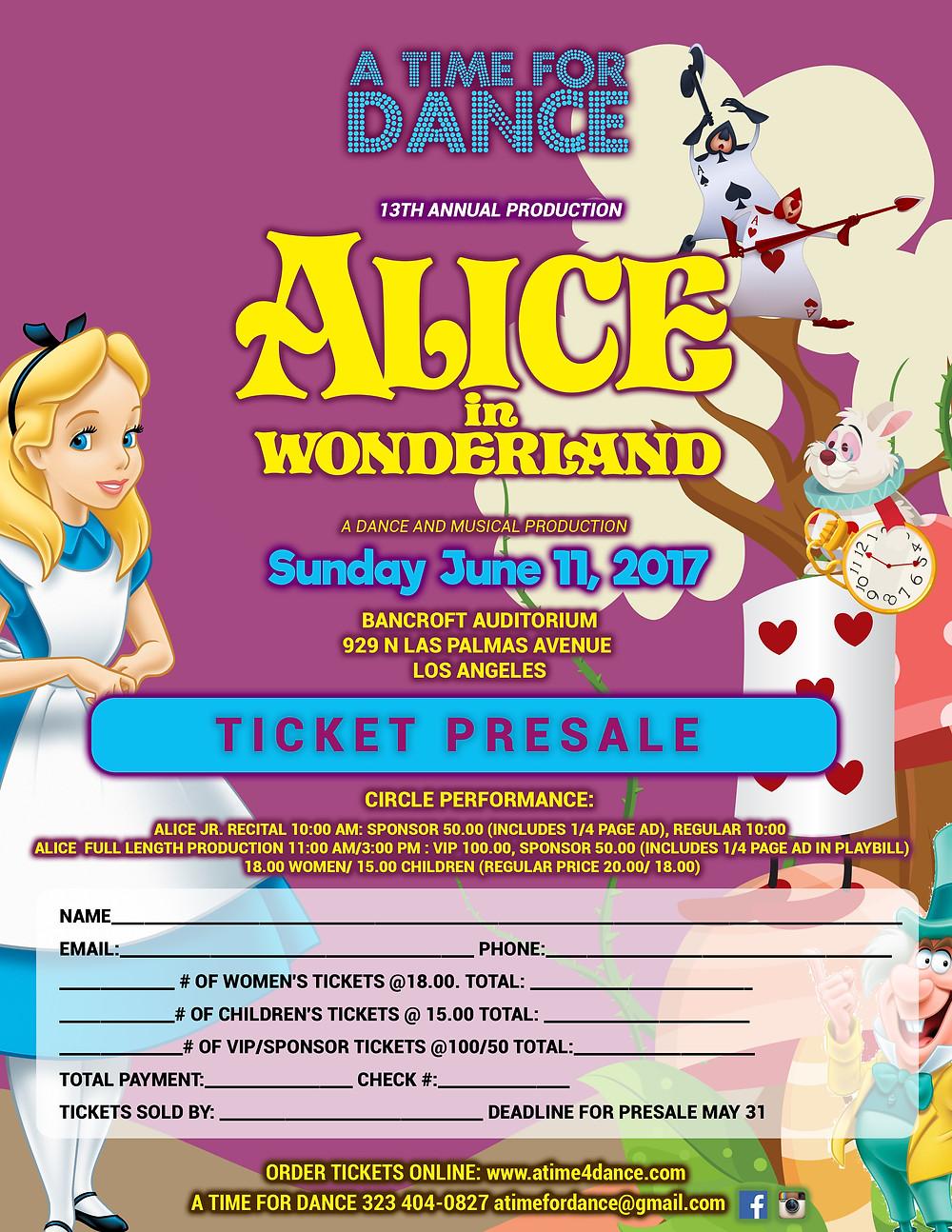 Alice in Wonderland ticket presale