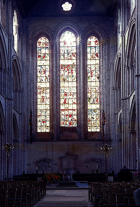 A rare imageof the 39 ft high former west window at Romsey Abbey, damaged and removed in 1961.