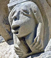 Romsey Abbey corbels and grotesques history architecture
