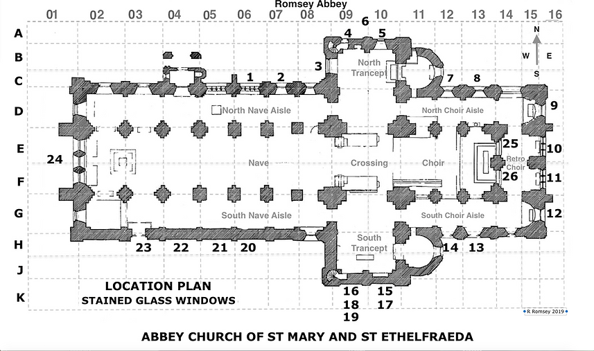 Plan of Romsey Abbey with locations of its 24 stained glass windows.