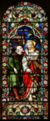 A brilliant 1880 stained glass window by the German artist Franz Mayer located in the south nave of Romsey Abbey. Installed in memory of Caroline Maria Noel (1817-1877) daughter of the Revd Gerard Noel.