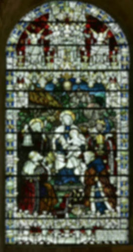 A fine Kempe & Co stained glass window located in the St Anne's Chapel at Romsey Abbey, entitled 'The Epiphany'.