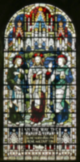 An  1890s James Powell stained glass window, designed by Arthur Louis Duthie. Located in the south transept at Romsey Abbey. It bearing the title 'The Way - The Light - The Truth'  In memory of Ralph Heneage Dutton 1821-1892.