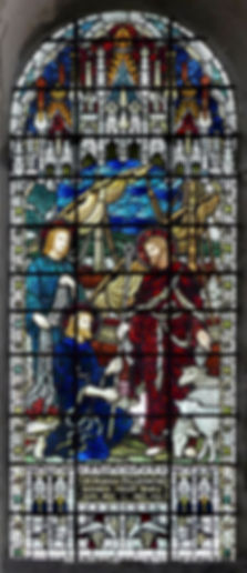 A  1902 James Powell stained glass window in the south transept at Romsey Abbey, It bearing the title 'Christ Commissioning Peter' One of many high quality photographs of stained glass windows at Romsey Abbey.