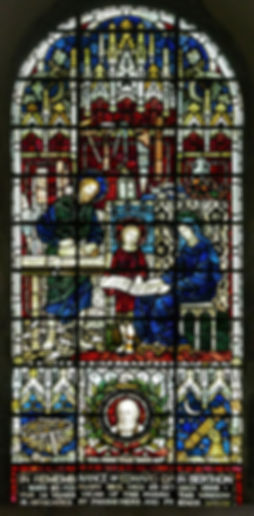 One of many high quality photographs of stained glass windows designed by James Powell, pictured here at Romsey Abbey in memory of Revd Edward Berthon - inventor, astrologer, boat builder and clergyman.