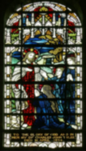 An  1890s James Powell stained glass window, designed by Located in the south transept at Romsey Abbey. It bearing the title 'Christ Arises'  In memory of Charles John Tylee.