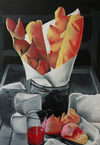 """This painting is for an exhibition that is placed in the """"Alliance Francaise Du Cap"""", so I had to paint something that is connected to France. So what do I love in France?? the food (:"""
