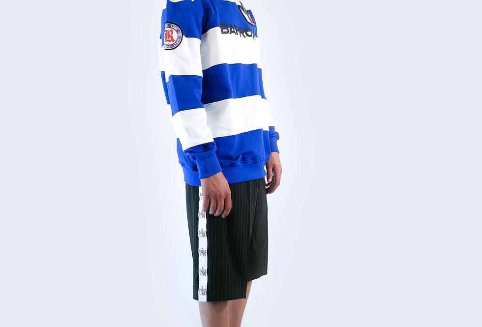 BARROW - Felpa a righe blue e bianche con stampa e logo