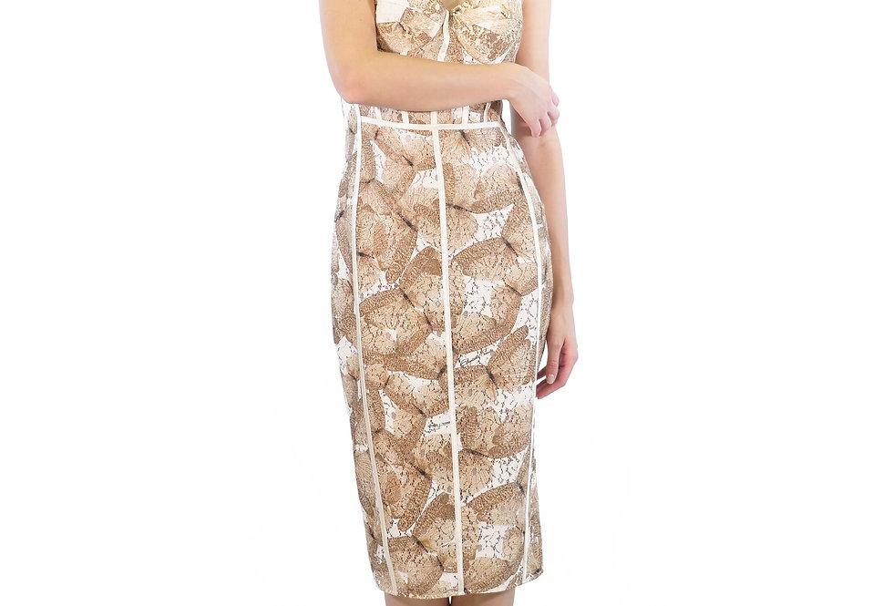 ELISABETTA FRANCHI - Pencil dress con stampa farfalle