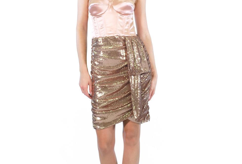 ELISABETTA FRANCHI - Mini abito con corpetto e paillettes