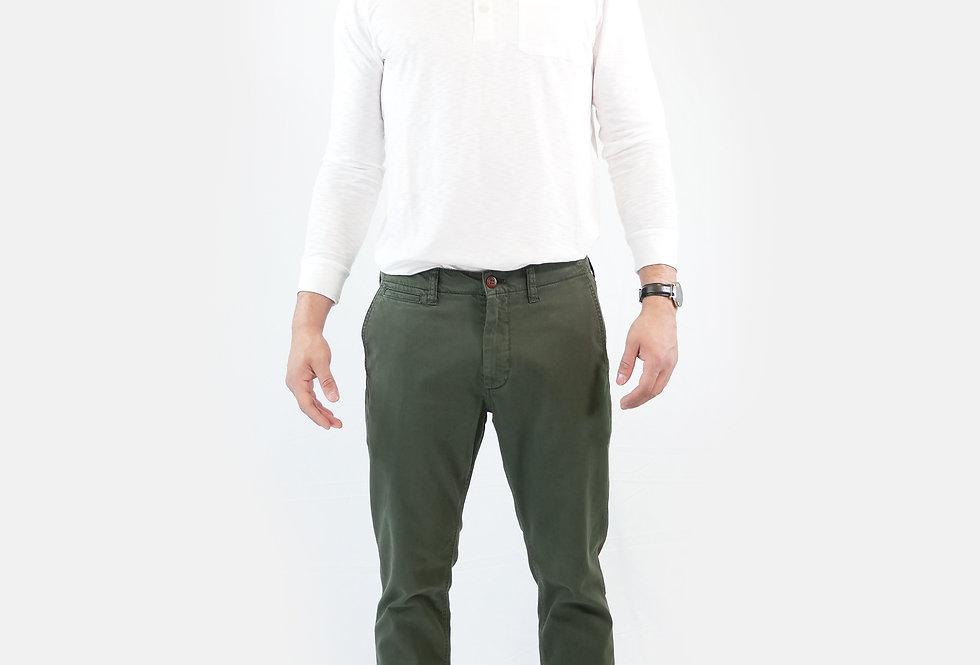 SUPERDRY - Pantalone officers slim chino olive