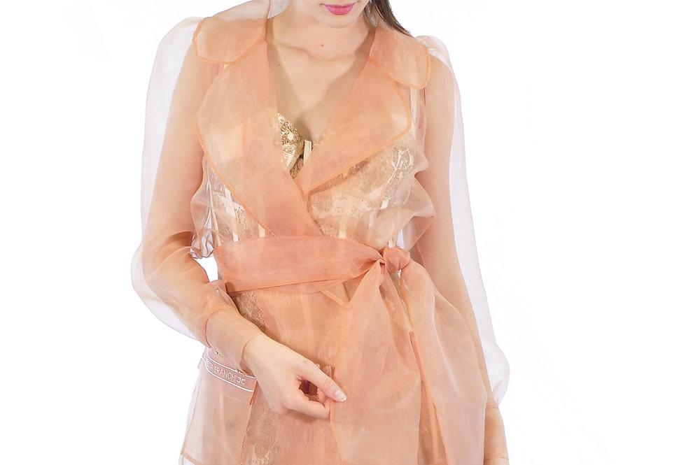 ELISABETTA FRANCHI - Camicia in organza trasparente colore Rose gold