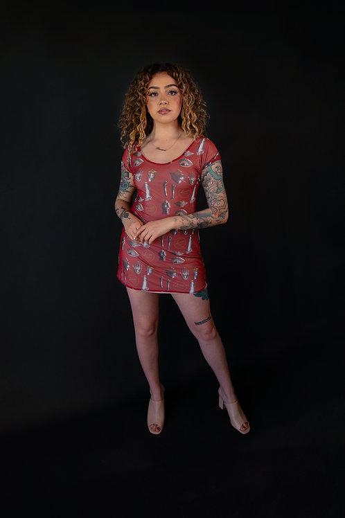 Milagros Printed Mesh Mini Dress