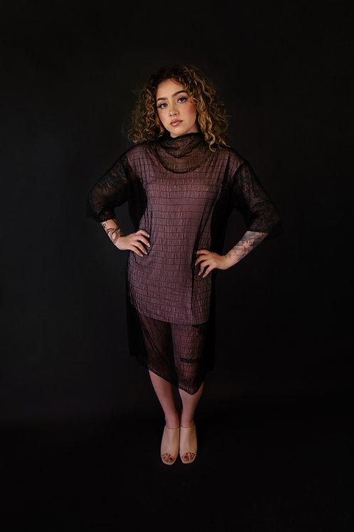 Shirred Web Mesh Dress