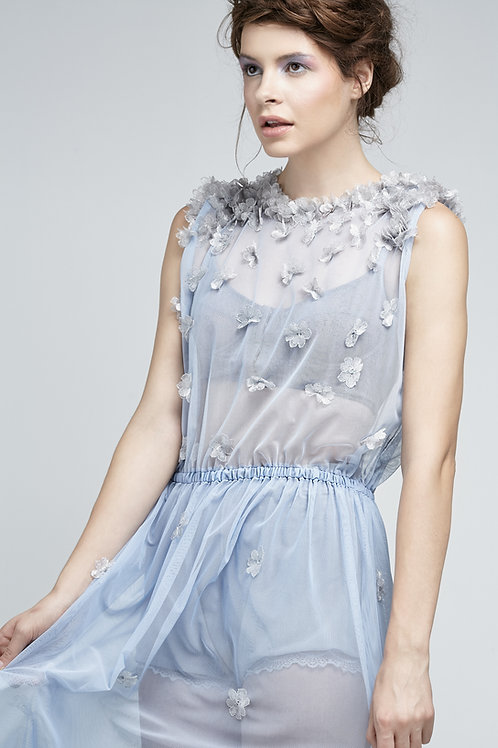 Mesh Dress with Hand Sewn Lace Floral Detail