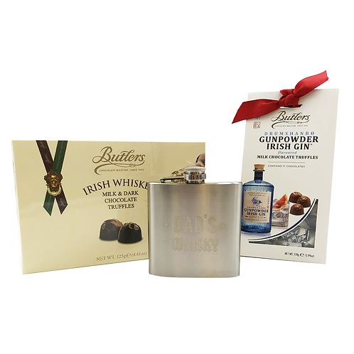 Father's Day Whiskey, Gin & Hip Flask Hamper