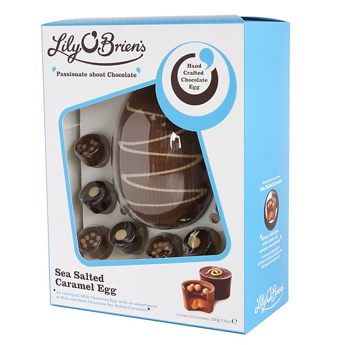 Lily O'Briens Sea Salted Caramels with Milk Chocolate Egg, 9 Chocolates, 325g