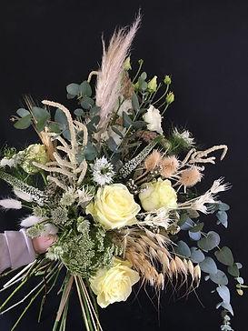 eucalyptus, rose and pampas grass bridal bouquet