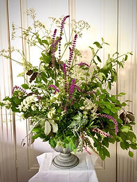 foraged style floral urn and wedding urn
