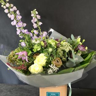 Lilac and creeam delphinium Bouquet