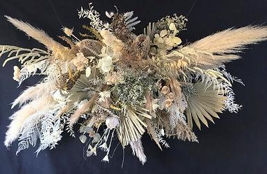 dried flower floral hoop, pampas grass decoration