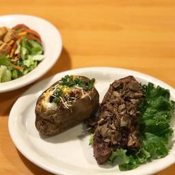 8 oz TriTip Steak Topped w/Sautéed Mushrooms, Baked Potato & Side Salad