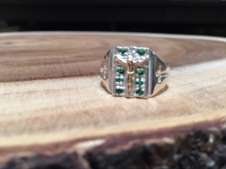 Silver Men's Ring (Cross with Green stones)