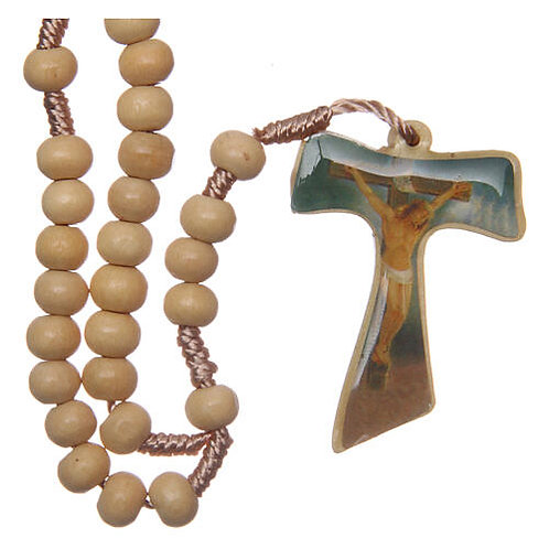 Wood Rosary Silk Cord -Tau Cross