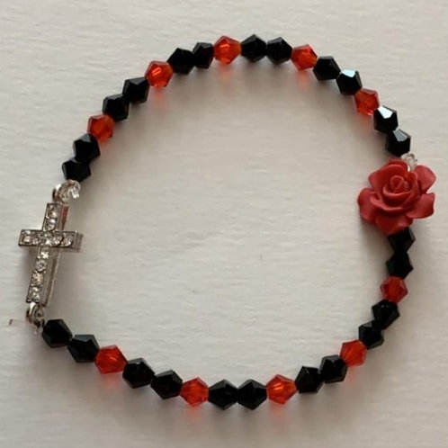 Black & Red Bracelet with Cross
