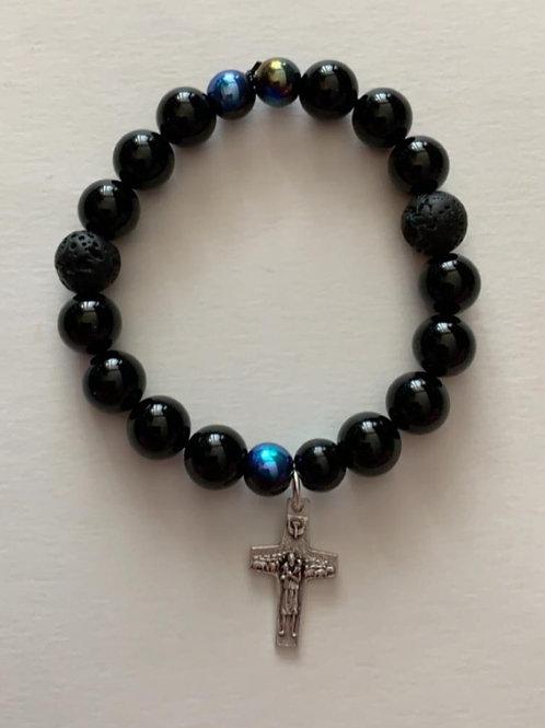 Dark Gem Stone Bracelet with Pope Francis Cross