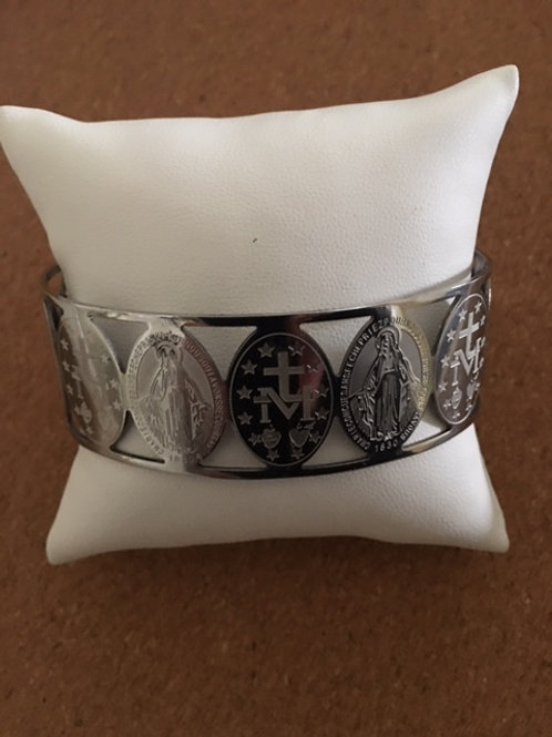 Miraculous Medal Silver Plated Bracelet